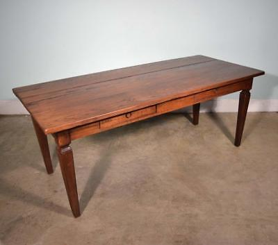 *Antique French Farm/Dining/Library Table in Solid Oak with Drawers