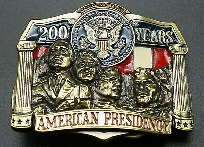 Vintage Brass Belt Buckle 200 Years American Presidency Limited Edition