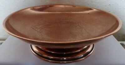 A Superb Vintage Copper Bowl / Dish On Stand With Engraved Sailing Ship (Bc11)