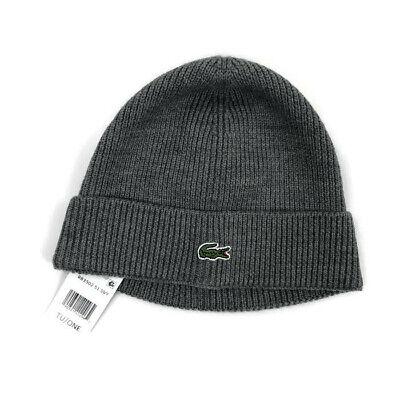 Lacoste Mens Croc Beanie Ski Cap Wool Ribbed Gray One Size