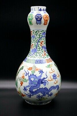 Ancien Vase Wucai En Porcelaine De Chine Antique Chinese Jiajing Mark Ming Wanli