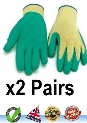 Latex Coated Gripper Glove Size 10 XL - 2 Pairs Ideal for Gardening and Builders