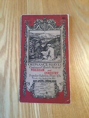 1921 Ordnance Survey One Inch Contoured Road Cloth Map 51 Wrexham And Oswestry