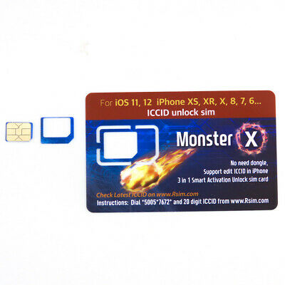 MONSTER X RSIM 13 2019 iPhone Nano Unlock Card fits iPhone XS/8/7/6