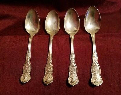 4 Illinois state sovereignty national union spoons by WM Rogers Mfg co.
