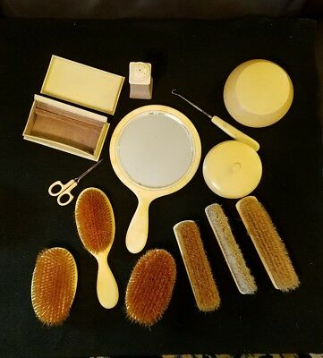 Vintage Vanity Celluloid Set 13 Pieces Ivory Pyralin .