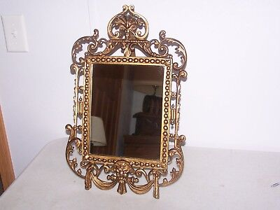 Antique Victorian 19th Century Cast Iron, Aged Gold Gilt, Table Mirror, Gothic