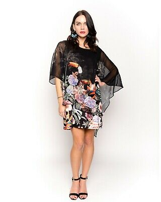 95cf09800635 CY Boutique bright summer color floral and bird print shift dress in  relaxed fit