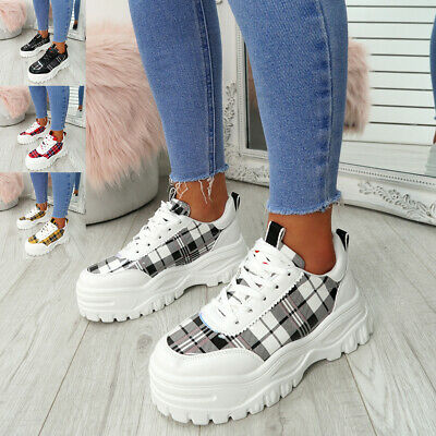Womens Ladies Lace Up Chunky Trainers Platform Sneakers Fashion Shoes Size