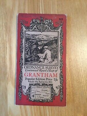 1922 Ordnance Survey One Inch Contoured Road Map 55 Grantham (incl Sleaford )