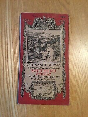 1921 Ordnance Survey One Inch Contoured Road Map 108 Southend (incl Chelmsford )