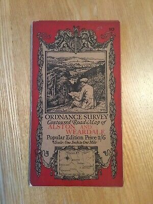 1925 Ordnance Survey One Inch Contoured Road Map 10 Alston And Weardale