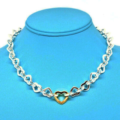 Tiffany & Co. Vintage Sterling Silver & 18K Yellow Gold Heart Link Nechlace