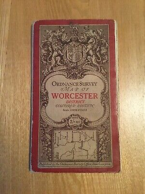 1912 Ordnance Survey One Inch Third (Coloured) Edition Cloth Map Of Worcester