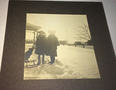 Antique American Winter Fashion Children! Pet Dog on Sled! Snow! Cabinet Photo!