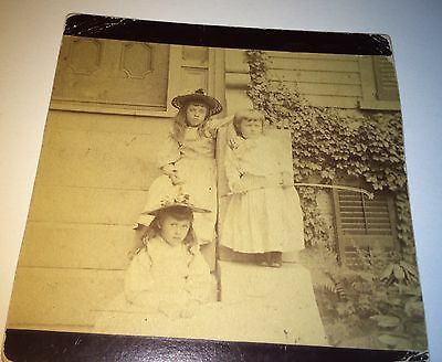 Antique Victorian American Children on Steps! Fishing Pole / Rod Cabinet Photo!