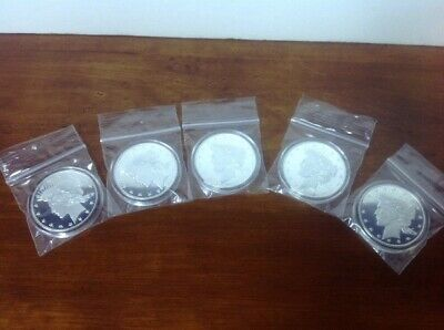 Lot Of (5) 1 oz. Highland Mint Silver Round - Peace Dollar Design .999+ Fine