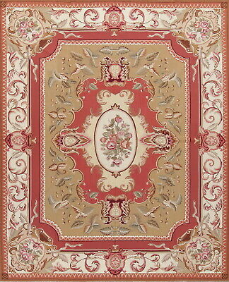 New Stunning Aubusson Chinese Oriental Floral Hand-Woven Area Rug Wool 8x10
