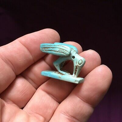 Rare ancient Egyptian stone glaze Faience cat ,AMULET c 300 /600 BC