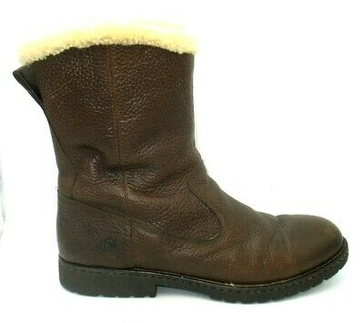 Born Brown Pebbled Leather Inner Lining Zip Up Boots Mens 13 M