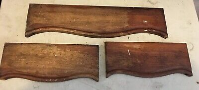 3 Vtg Wood Architectural Salvage Solid Walnut Pediments Molding Repurpose