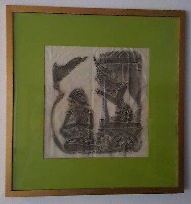 Vintage Angkor Wat Thai/Cambodian Temple Stone Rubbing Art on Rice Paper Framed