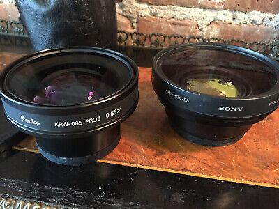 SONY VCL-HG0758 & KENKO KRW-065 Pro II ~ 2 Wide Angle Conversion Video Lenses GC