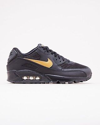 2018 Nike Air Max 90 Essential SZ 9.5 Black Metallic Gold av7894-001