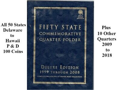 1999 to 2008 50 States Commemorative Quarters in Blue Whitman Folder P and D