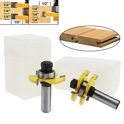 "UE 2x Matched Tongue Groove Router Bit 1/2"" Shank Woodworking Chisel Cutter Tool"
