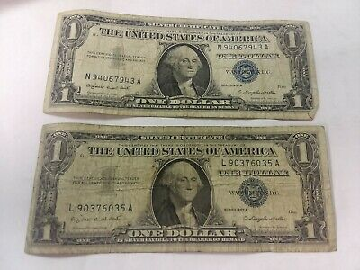 1957A One Dollar Well Circulated Silver Certificate Notes (Lot of 2)