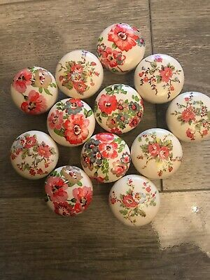 12 White Painted Wood Knobs Cath Kidston Mixed Flowers