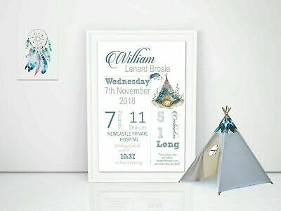 Personalised Baby Nursery Decor Wall Art,  Print Birth Announcement A4 Printed