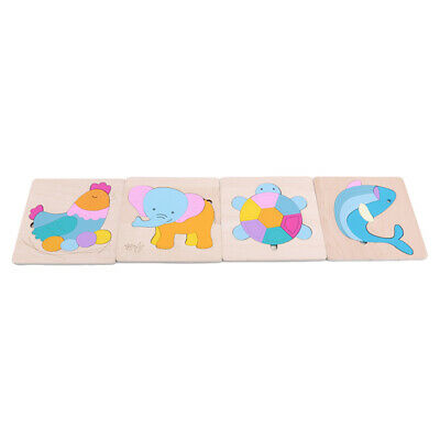 Kids Baby Wooden Wood Animal Puzzle Numbers Learning Educational Toy N7