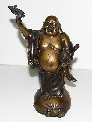 """Old Chinese Laughing Buddha Bronze Statue Figure 6.5"""" H...WOW!!!"""