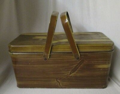 vintage wood grain metal picnic storage bread box National Can Co.  unusual size