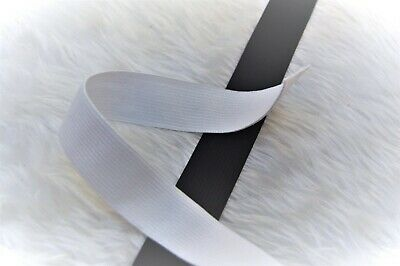 White Stretch Elastic Flat Waist Band Cuffs Knitted Fast Dispatch 25Mm 10Mts