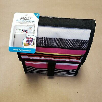 Pack it Freezable Lunch Bag Pinks Black Stripes No Ice Packs Needed