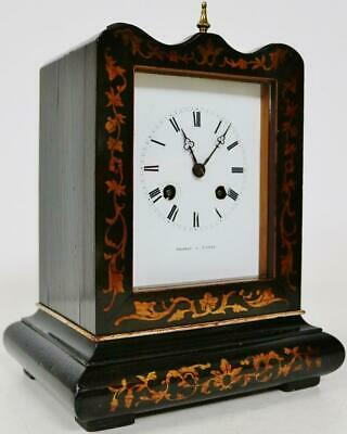 Antique French Empire Mantel Clock 8 Day Inlaid Officers Clock by Thomas A Paris