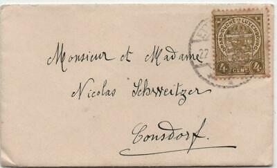 LUXEMBOURG: 1920 4c Brown Example on Small Cover to Consdorf - Cancel (22346)