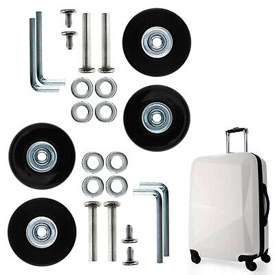 4x Luggage Wheels Repair Kit Axles Rubber Deluxe OD 50mm Replacement Metal