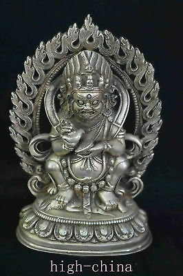 Collectable Chinese Miao Silver Carve Buddha Exorcise Ancient Souvenir Statues