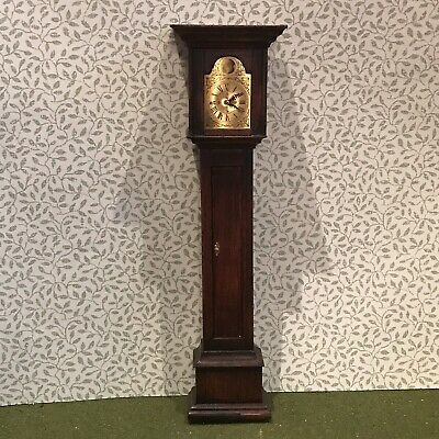 Vintage Dollhouse Miniature William & Mary Tall Case Grandfather Clock~Mahogany