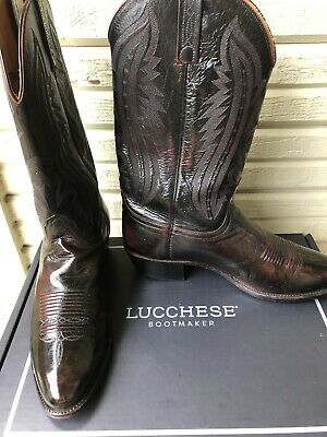 153d0f20241 LUCCHESE 2000 KANGAROO Leather Black Cherry Cowboy Western Boots 12 D $899
