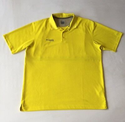 ee30ba53b6b Columbia Mens Omni Shade Titanium Polo Shirt Yellow Outdoor Fishing Size XL