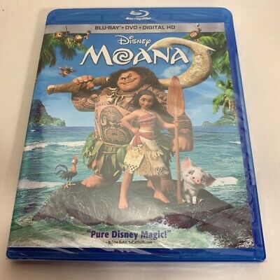 Moana Blu-ray DVD 2017 2 Disc Set Disney Movie + Digital Adventure PG  Sealed