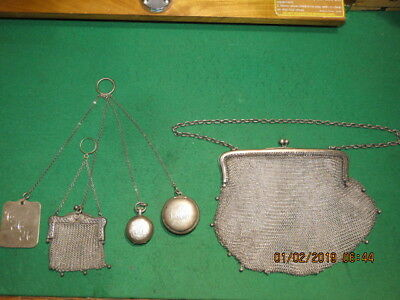 Superb Rare  Antique Victorian German Silver Chatelaine Chain & Silver Tools