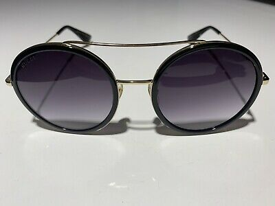 d0474ca395 Gucci Women Round Sunglasses GG0061S 001 Gold Black Grey Gradient Lens 56mm