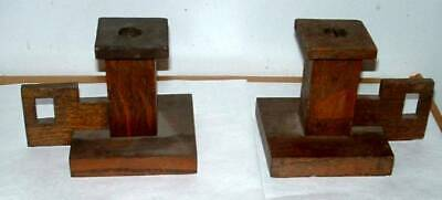 Pair   Arts & Crafts Oak Mission Style Candlesticks Not Signed