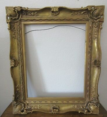 "Antique Gesso Gold Gilt Wood Baroque Carved 27x23"" Picture Frame for 16x20"